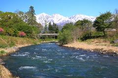 Japan Alps and river Royalty Free Stock Image