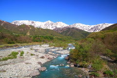 Japan Alps and river Royalty Free Stock Images