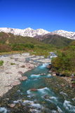 Japan Alps and river Stock Photo
