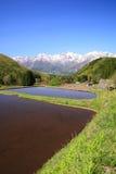 Japan Alps and terrace paddy field. Hakuba village Aoni, Nagano, Japan Royalty Free Stock Photo