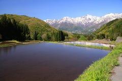 Japan Alps and terrace paddy field. Hakuba village Aoni, Nagano, Japan Royalty Free Stock Photography