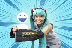 Japan anime cosplay , cartoon women. Japan anime cosplay , cartoon woman on abstract background royalty free stock photography
