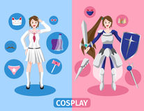Japan anime cosplay , 2 cosplay set stock illustration