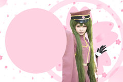 Japan anime cosplay , pink cosplay royalty free stock photography