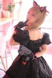 Japan anime cosplay , portrait of girl cosplay in pink room background. Japan anime cosplay , portrait of girl cosplay in pink room royalty free stock photos