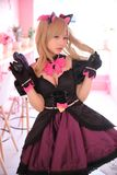 Japan anime cosplay, portrait of girl cosplay in pink room background. Japan anime cosplay, portrait of girl cosplay in pink room royalty free stock photos