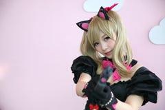 Japan anime cosplay , portrait of girl cosplay in pink room background. Japan anime cosplay , portrait of girl cosplay in pink room stock image