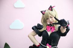 Japan anime cosplay , portrait of girl cosplay in pink room background royalty free stock photos