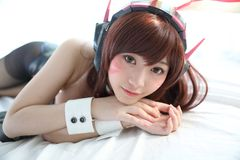 Japan anime cosplay , portrait of girl cosplay in white room background stock photos