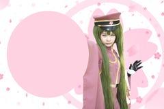 Japan-Anime cosplay, rosa cosplay Lizenzfreie Stockfotografie