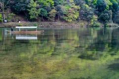 Japan Arashiyama Ferry. Arashiyama, is a beautiful place in japan Stock Photo