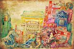 Japan art and culture background collage illustration. A beautiful drawing of Japanese culture architecture art and painting in the one picture on texture paper Royalty Free Stock Images
