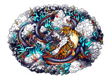 Japan-Artdrache- und -tigerdesign Stockfotografie