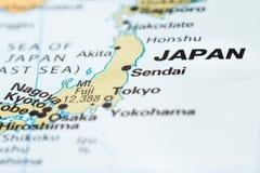 Japan auf einer Karte stockbild