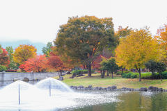 Japan autumn , Fountain in soft focus and blur style,  Obuse par Royalty Free Stock Photography