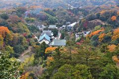 Japan autumn. Kamakura, Japan - Zen Buddhist temple of Kencho-ji. Aerial view with autumn forests Stock Images