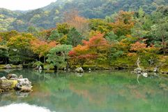 Japan autumn lake and tree. Tenryu-ji Temple is the headline attraction in Arashiyama, a sprawling Zen temple with one of the finest gardens in Kyoto and Stock Photos