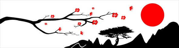 Japan background. The branch of oriental cherry, mountains and red sun on white background royalty free illustration