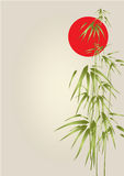 Japan bamboo. With red circle Stock Photography