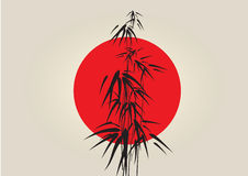 Japan bamboo. With red circle Royalty Free Stock Photos