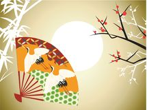 Japan Bamboo Fan Ethnic Element Vector Illustration. For any purpose such cover and illustration book, website, social media, blog, stationary, print stuff Stock Illustration