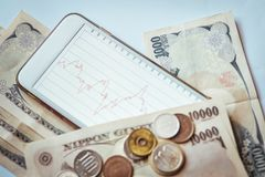 Japan Banknotes & Coins for business Stock Photo