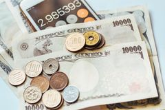 Japan Banknotes & Coins for business Royalty Free Stock Images