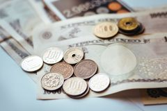Japan Banknotes & Coins for business Royalty Free Stock Photography