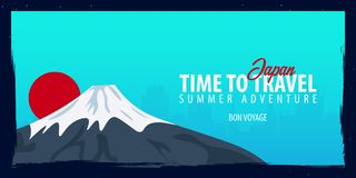 Japan banner. Time to Travel. Journey, trip and vacation. Vector flat illustration. Japan banner. Time to Travel. Journey, trip and vacation. Vector flat Stock Image