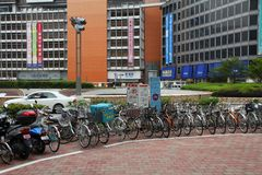 Japan bicycle parking Royalty Free Stock Photography