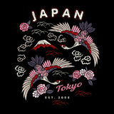 Japan bird vector embroidery Stock Images