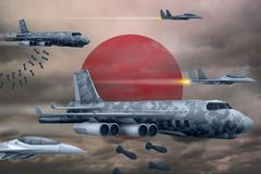 Japan air forces bombing strike concept. Japan army air planes drop bombs on flag background. 3d Illustration. Japan bomb air strike concept. Modern Japan war Stock Image