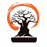 Japan Bonsai with Zen Symbol. Vector Stock Photography