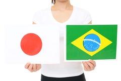 Japan & Brasilien flaggor royaltyfri foto