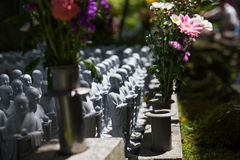 Japan Buddha Statue in the graveyard. Many buddha statue made from the rock in the graveyard Stock Images