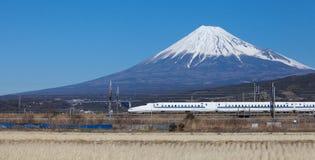 Japan bullet train shinkansen. And Mountain fuji Royalty Free Stock Image
