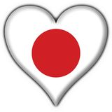 Japan button flag heart shape Stock Image