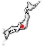 Japan button flag map shape Stock Image