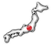 Japan button flag map shape Stock Photography