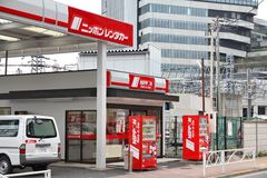 Japan car rent. TOKYO, JAPAN - APRIL 13, 2012: Nippon Rent-A-Car office in Tokyo. Nippon Rent-A-Car is one of oldest car rental companies in Japan (founded 1969 Royalty Free Stock Images