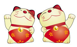 Japan cat doll isolated. 2 Cute cat Japanese stlye vector illustration