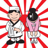 Japan chef. Japan food chef and girl Royalty Free Illustration