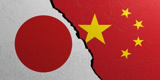 Japan and China flag, plastered wall background. 3d illustration. Japan and China relationship. Flags on plastered wall background. 3d illustration Stock Images