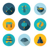 Japan, China, pictogrammen in vectorformaat Royalty-vrije Stock Afbeelding
