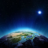 Japan and China from space stock illustration