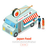 Japan or Chinese Food Truck Isometric Projection Royalty Free Stock Image