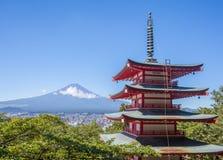 Japan Chureito red pagoda and Mountain fuji in summer Royalty Free Stock Photography