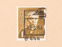 A stamp printed in Japan shows the Emperor, circa 1986. JAPAN - CIRCA 1986: A stamp printed in Japan shows the Emperor, circa 1986 royalty free stock photo