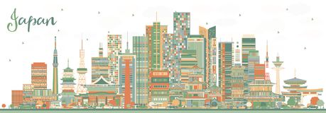 Japan City Skyline with Color Buildings vector illustration