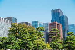 Tokyo modern building under blue sky. Japan city Tokyo modern building under blue sky Royalty Free Stock Photography